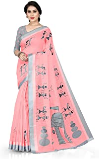 SOURBH Women's Cotton Saree With Unstitched Blouse Piece