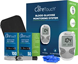 Care Touch Diabetes Blood Sugar Kit – Care Touch Blood Glucose Meter, 150 Blood Test Strips, 1 Lancing Device, 30 Gauge Lancets-with Carrying Case