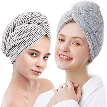 ELLEWIN Bamboo Hair Towel Wrap 2 Pack, Microfiber Hair Drying Shower Turban with Buttons,Super Absorbent Quick Dry Hair Towels for Curly Long Thick Hair, Rapid Dry Head Towel Wrap for Women Anti Frizz