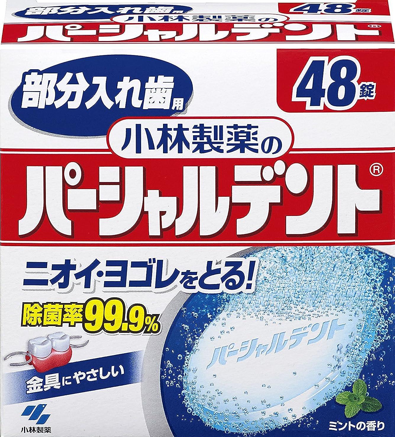 自然公園担保飾り羽小林製薬のパーシャルデント 部分入れ歯用 洗浄剤 ミントの香 48錠
