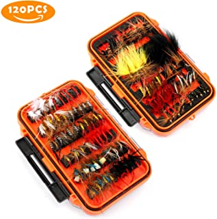 Magreel 120pcs Fly Fishing Lures Kit with Box, Dry/Wet Flies, Nymphs, Streamers, for Fishing Bass, Salmon, Trout