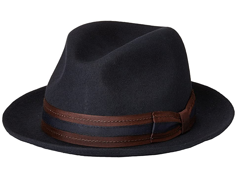 Stacy Adams Pinch Front Wool Fedora (Navy) Fedora Hats