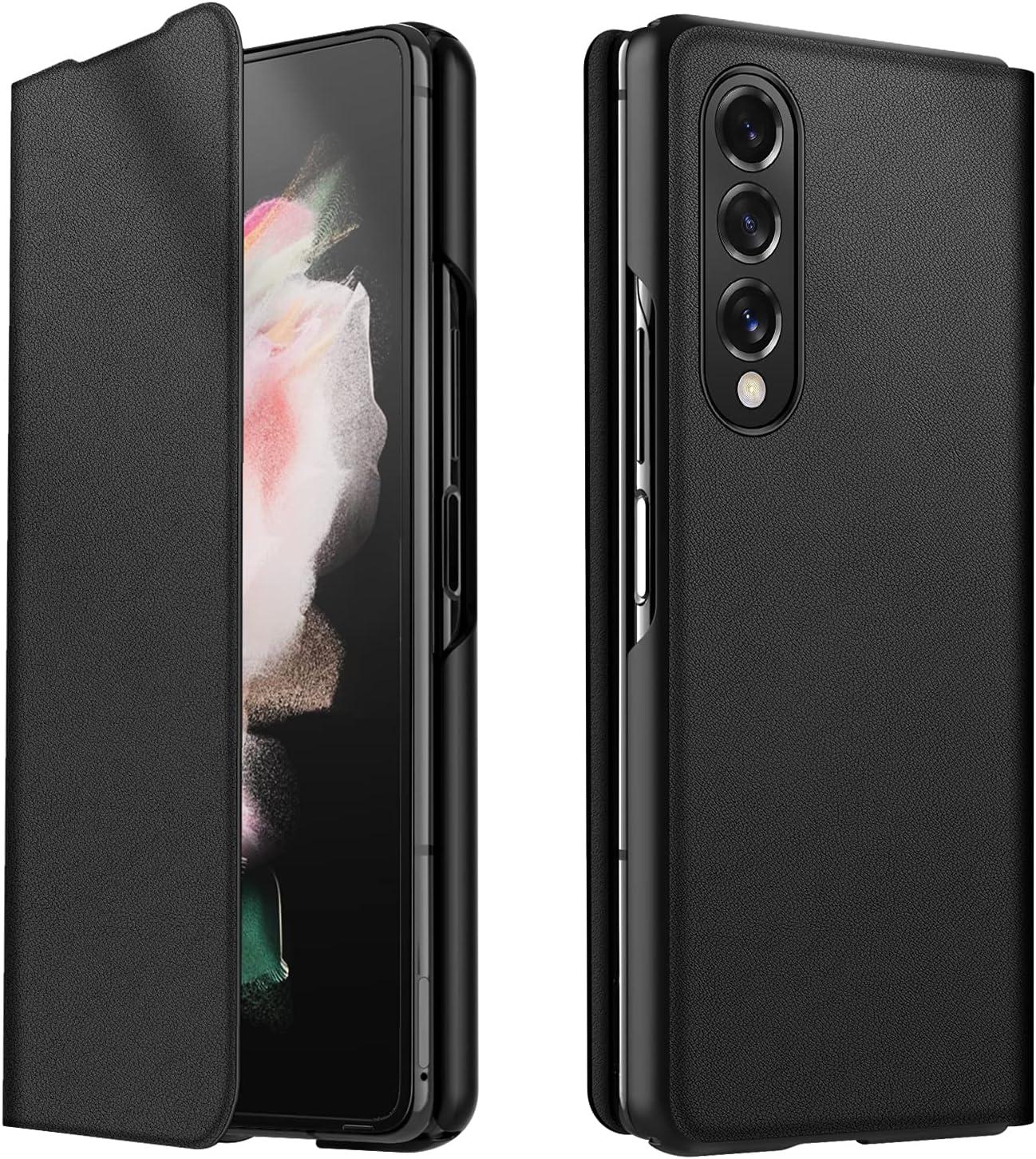 CENMASO Designed for Samsung Galaxy Z fold 3 Case, Ultra-Thin Leather Magnetic Flip Bumper Case for Galaxy z Fold 3 (2021)- Black