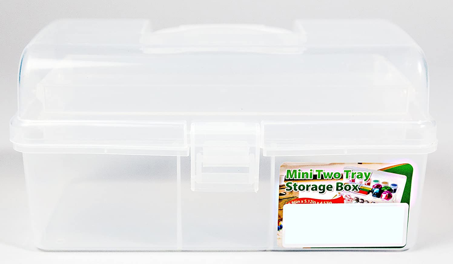 Clear Plastic Mini-Two Tray Art Supply Craft Storage Tool Box - 8.9 inches