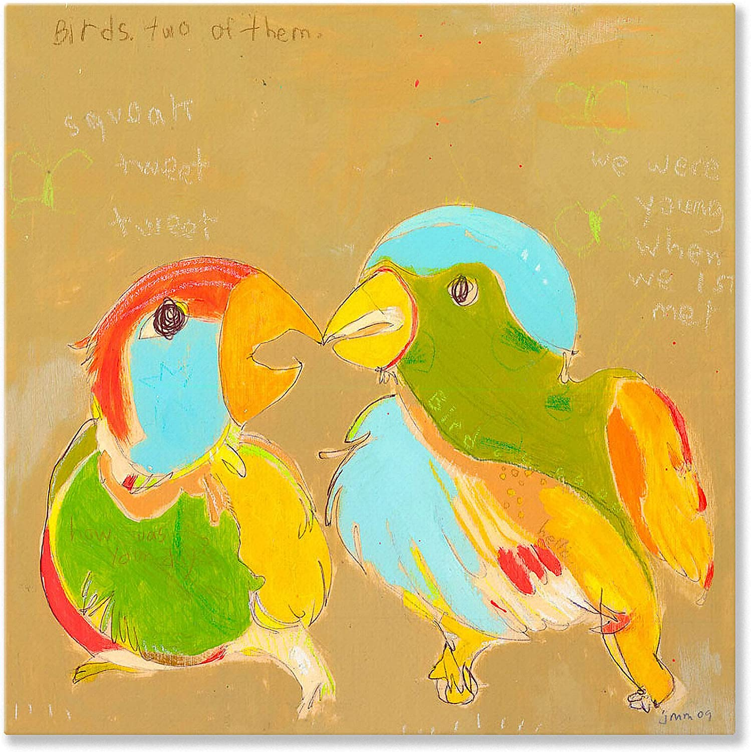 Oopsy Daisy Birds Two Stretched Canvas Wall Art by Jennifer Mercede, 14 by 14Inch