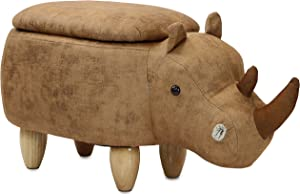"Critter Sitters Brown 15"" Seat Height Animal Rhino-Faux Leather Look-Durable Legs-Storage for Nursery, Bedroom, Playroom & Living Room-Décor Ottoman"