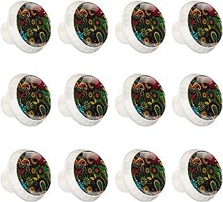 Boutons D'armoire 12 Pcs Poignés Poignée De Champignons Porte Poignées avec Vis pour Cabinet Tiroir Cuisine,Modèle ethniqu...