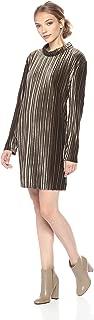 MINKPINK Women's Pleated Velvet Long Sleeve Dress
