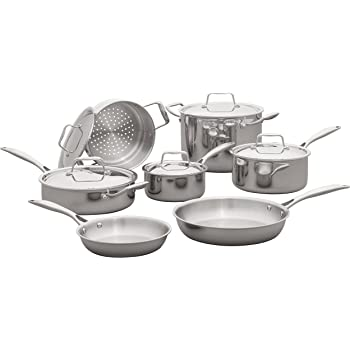 Amazon Brand – Stone & Beam Tri-Ply Stainless Steel Kitchen Cookware Set, Pots and Pans, 12-Piece