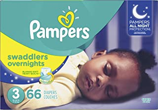 Diapers Size 3, 66Count - Pampers Swaddlers Overnights Disposable Baby Diapers, Super Pack