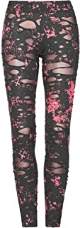 Punk Rave Womens Sexy Ripped Mesh Leggings Gothic Punk Tattered Slimming Pants Trousers