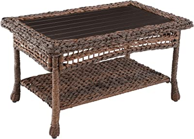 W Unlimited Modern Concept Faux Sea Grass Resin Rattan Coffee Table, Dark Brown