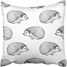 Emvency Decorative Throw Pillow Covers Cases Hedgehog with Forest Animals Hand Drawing of Wildlife Black and White Old Engraving Vintage 16x16 Inches Pillowcases Case Cover Cushion Two Sided
