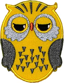 Cute Yellow Owl Cartoon DIY Applique Embroidered Sew Iron on Patch