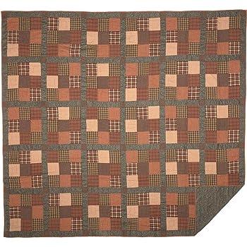 VHC Brands Primitive Bedding Cinnamon Plaid Cotton Pre-Washed Patchwork Luxury King Quilt, Dark Olive Green