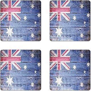 Lunarable Australia Coaster Set of 4, Australian Flag Painted on Old Wooden Look Background, Square Hardboard Gloss Coasters, Standard Size, Lavender Pink