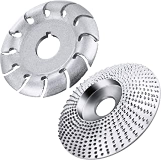 2 Pieces Angle Grinder Disc Wood Carving Disc Grinding Wheel Carving Abrasive Disc 12 Teeth Wood Polishing Shaping Disc Cutting Wheel for Sanding Carving Shaping Polishing Grinding Wheel Plate