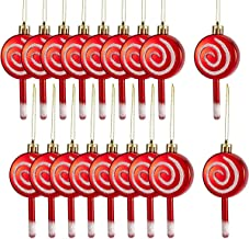 MEWTOGO 18 Pcs Christmas Candy Lollipop Ornament Set- 4'' Red and White Candy Cane Design Xmas Tree Lollipop Ornament Shat...