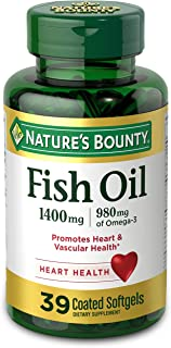 Fish Oil by Nature's Bounty, Dietary Supplement, Omega 3, Supports Heart Health, 1400 Mg, 39 Coated Softgels