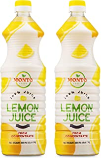 MontoFresh 100% Pure Lemon Juice Concentrate | 2 Pack of 1 Liter [32oz] Bottles| For Marinades, Smoothies, Cleaning, Bakin...