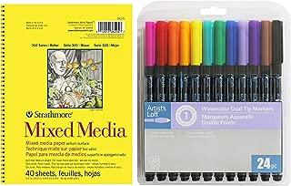 Beginner Artwork Set - 48 Watercolor Dual Tip Marker by Artists Loft and 40 Sheet Mixed Media Pad