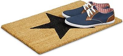 Relaxdays Natural Coconut Fibre Coir Star Doormat Door Mat Welcome Mat w/ Anti-Slip Rubber PVC Underside, Brown