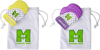 Munch Mitt® Teething Toy Stays on Baby's Hand is Self-Soothing Entertainment and Gives Pain Relief from Teething plus is Ideal Baby Shower Gift with Handy Travel/Laundry Bag– 1 Yellow MINI & 1 Purple