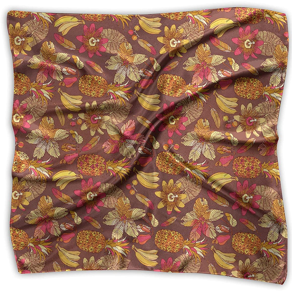 Square Satin Scarf Hibiscus Tropical Flowers Pineapple Silk Like Lightweight Bandanas Head Wrap Neck Shawl Headscarf