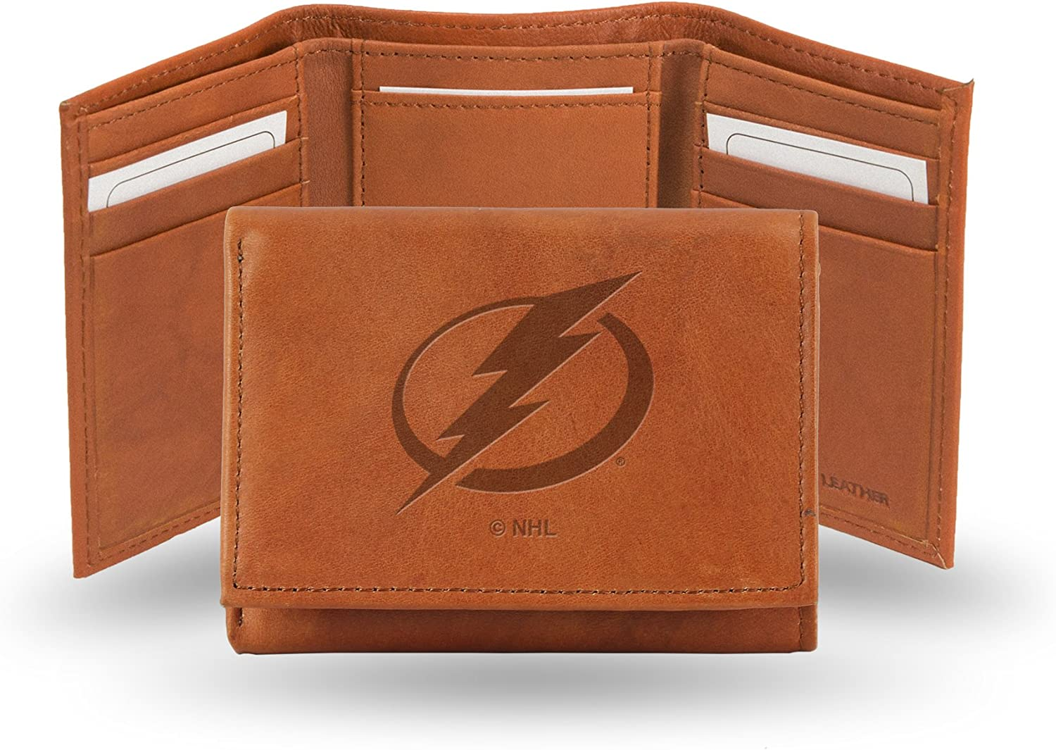 NHL Tampa Bay Lightning Embossed Genuine Leather Trifold Wallet