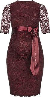 Herzmutter Umstands-Spitzen-Kleid - Elegantes-knielanges-Schwangerschafts-Kleid - für Festliche Anlässe-Hochzeit-Feier - Mit Spitze - Creme-Champagner-Blau-Rot-Rosé - 6200