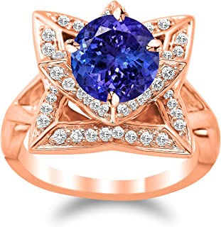 Lotus Flower Diamond Engagement Ring with a 1.5 Carat Tanzanite AAA Heirloom Center Stone