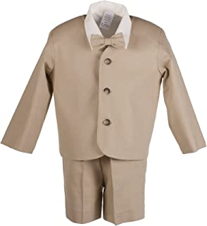 Boys Khaki Tan Linen Eton Short Set for Baby and Toddlers