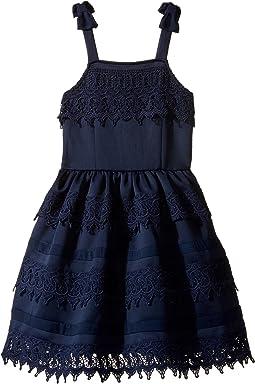 Ponte Dress with Crochet Trim (Little Kids/Big Kids)