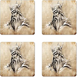 Lunarable Viking Coaster Set of 4, Sketch Style Scandinavian Warrior with Beard and Hat Masculine Portrait Tattoo, Square Hardboard Gloss Coasters, Standard Size, Beige Tan