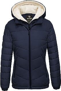 Wantdo Women's Winter Coats Hooded Windproof Warm Puffer Jacket with Fleece Hood