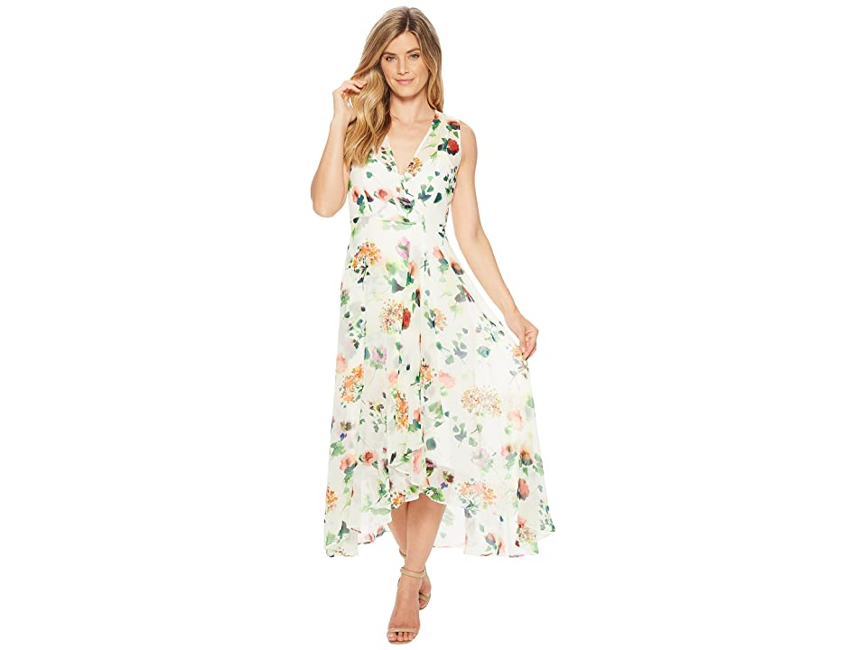 Calvin Klein Flower Print High-Low Maxi CD8HT35J (Green Multi) Women