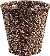 ZXHDND Straw Round Storage Bin Green Household Trash Can Flower Pot Set, Handmade, 28x19x25cm (Color : A)