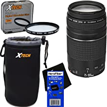Canon EF 75-300mm f/4-5.6 III Telephoto Zoom Lens for EOS 7D, 60D, 70D, EOS Rebel SL1, SL2, T1i, T2i, T3, T3i, T4i, T5, T5i, T6, T6i, T6s, T7, T7i, XS, XSi, XT, XTi DSLR Cameras + 3pc Accessory Kit