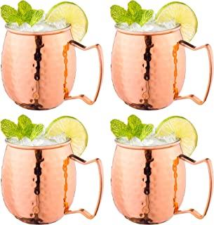 Moscow Mule Copper Mugs with Handles (4-Pack) Classic Drinking Cup Set Home, Kitchen, Bar Drinkware Helps Keep Drinks Colder, Longer Food-Grade Safe Lining