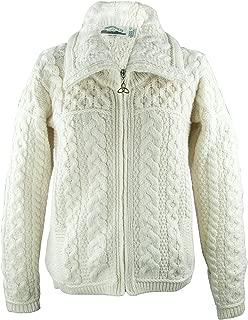 Irish Merino Wool Double Collar Zipper Aran Sweater