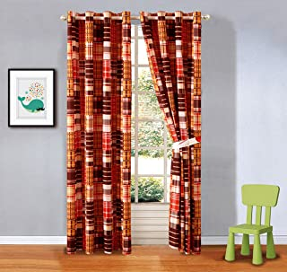 2 Piece Plaid Orange, White and Brown Window Curtain Set (Matches Our Basketball Sports Theme Bedding)