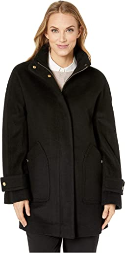 Zip Front Wool Coat with Snaps