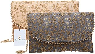 Kuber Industries Handcrafted 2 Pieces Embroidered Handbag for Bridal, Casual, Party, Wedding (Grey and Peach)