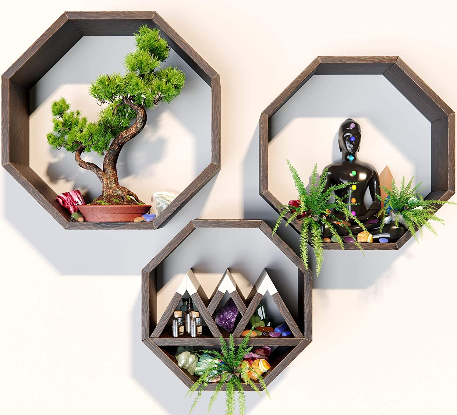 AMERICA EMPIRE Octagon Shelves for Wall 【Set of 3 】  Crystal Shelf Display for Stones. Octagon Wall Shelves   Geometric Shelf Can Be Used as a Crystal Holder, Crystal Display Shelf Boho Shelf Decor