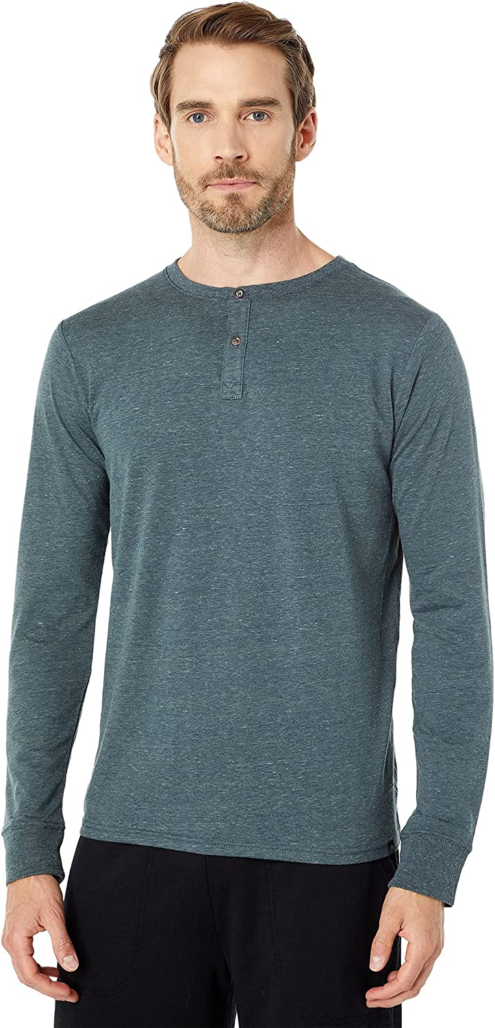 Threads 4 Thought Long Sleeve Tri-Blend Two-Button Henley Gunmetal MD