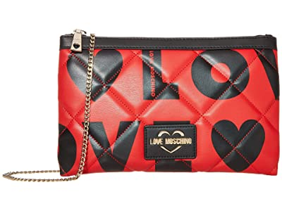 LOVE Moschino Love Is All Over Clutch/Shoulder Bag (Fantasy Print Black/Red) Handbags
