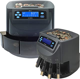 Nadex S540 Coin Counter, Sorter and Coin Roll Wrapper, Digitally Displays Both Coin Value and Coin Quantity During Counting, Sort Into Bins or Tubes, 48 Preformed Coin Wrappers Included