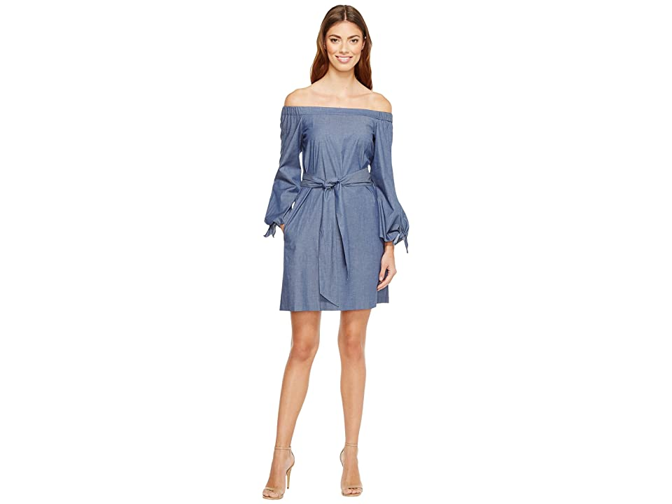 Donna Morgan Off Shoulder with Tie Sleeve Dress (Chambray) Women