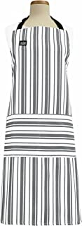 All-Clad Textiles Professional Stain Resistant Heavyweight Cotton Twill Bib Apron with Adjustable Straps, Striped Pewter