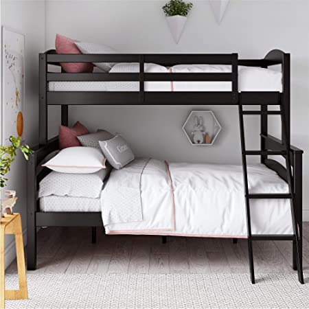 Amazon Com Dorel Living Brady Solid Wood Bunk Beds Twin Over Full With Ladder And Guard Rail Black Furniture Decor